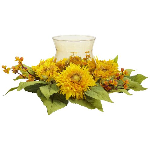 Nearly Natural Golden Sunflower Candleabrum Silk Flower Arrangement