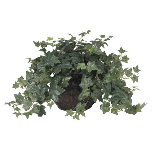Nearly Natural Puff Ivy Silk Desk Top Plant in Pot