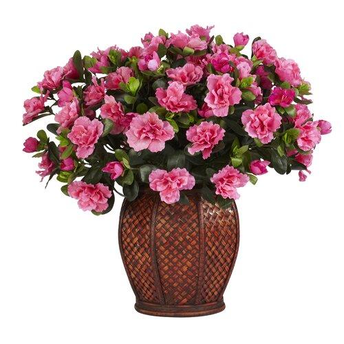 Nearly Natural Azalea Silk Desk Top Plant in Decorative Vase