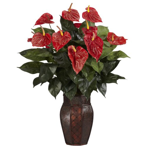 Nearly Natural Anthurium Desk Top Plant in Decorative Vase