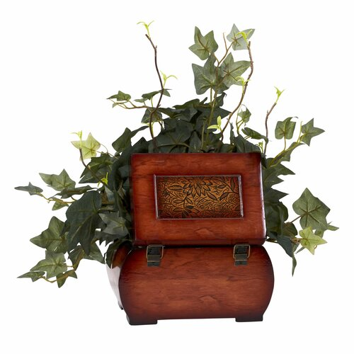 Nearly Natural Puff Ivy Desk Top Plant in Chest