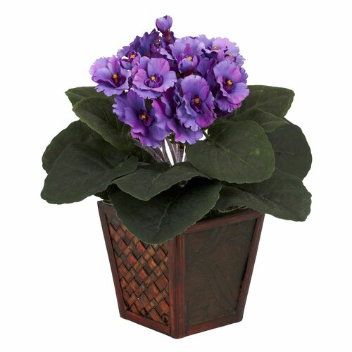 Nearly Natural African Violet Desk Top Plant in Pot 2 Piece Set