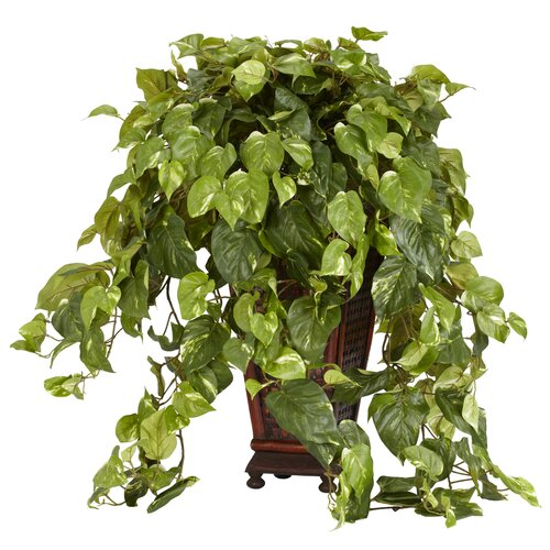 Nearly Natural Vining Pothos Floor Plant in Decorative Vase