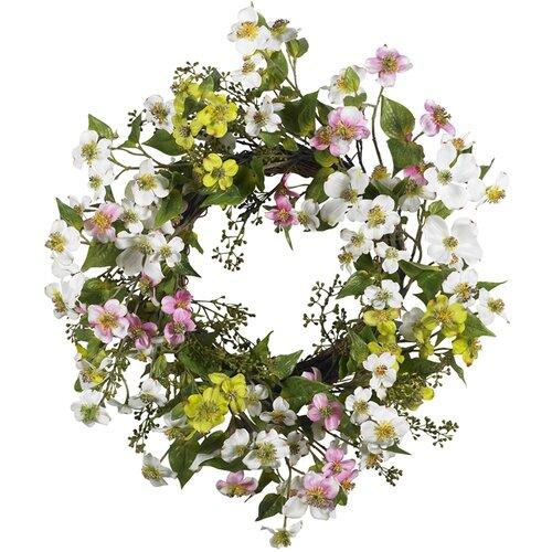 "Nearly Natural 20"" Dogwood Wreath"