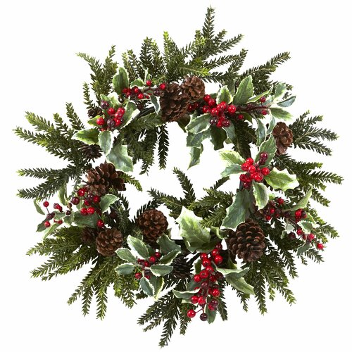 Nearly Natural Holly Berry Wreath & Reviews | Wayfair