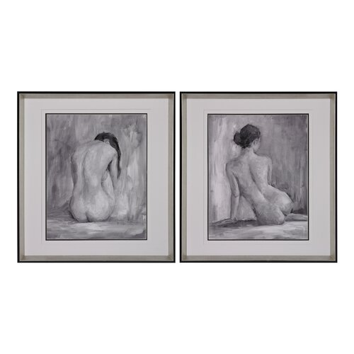 Figure in Black and White 2 Piece Framed Painting Print Set