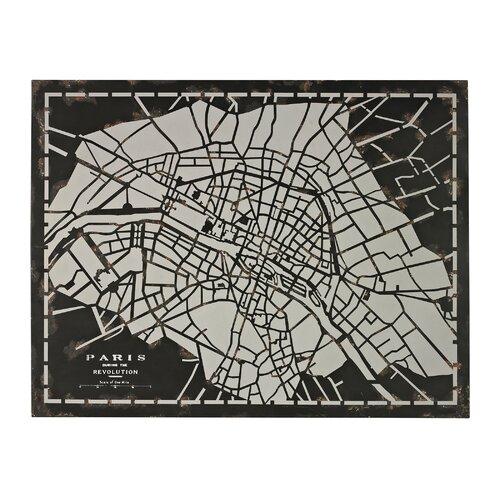 Laser Cut Map Of Paris Circa 1790 Graphic Art on Canvas