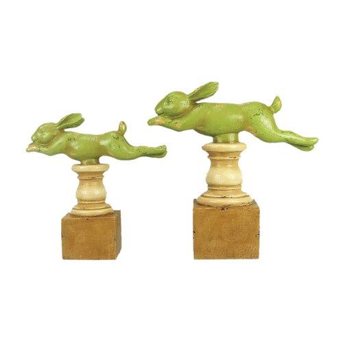 Sterling Industries 2 Piece Running Rabbit Figurine Set