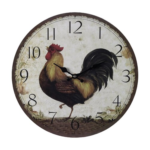 """Sterling Industries 13"""" Rooster Wall Clock"""