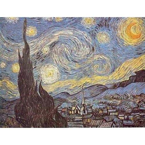 White Walls Starry Night Original Painting on Canvas