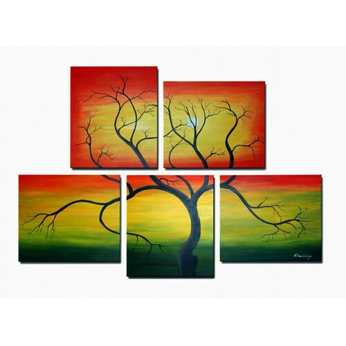 White Walls Wild Tree 5 Piece Original Painting on Canvas Set