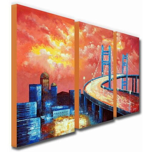 White Walls Cloudy Overpass 3 Piece Original Painting on Canvas Set
