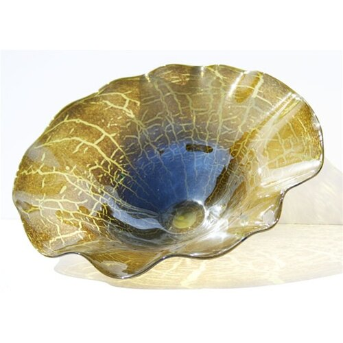 White Walls Hand Blown Cracked Decorative Dish in Green