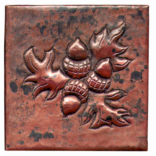 "D'Vontz Acorn Bushel 4"" x 4"" Copper Tile in Dark Copper"