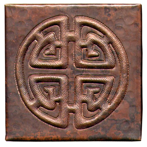 "D'Vontz Celtic Cross 4"" x 4"" Copper Tile in Dark Copper"