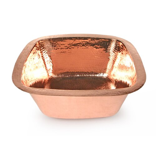 "D'Vontz Copper 15"" x 15"" Plain Hammered Square Bar Sink"