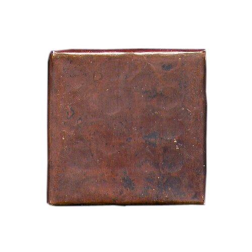 """D'Vontz Plain Hammered 4"""" x 4"""" Copper Tile in Dark Copper"""