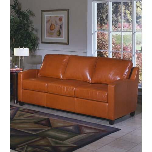 Chelsea Deco Leather Sleeper Loveseat