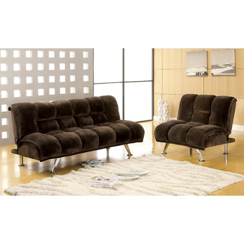Hokku Designs Jopelli Flannel Sleeper Sofa and Chair Set