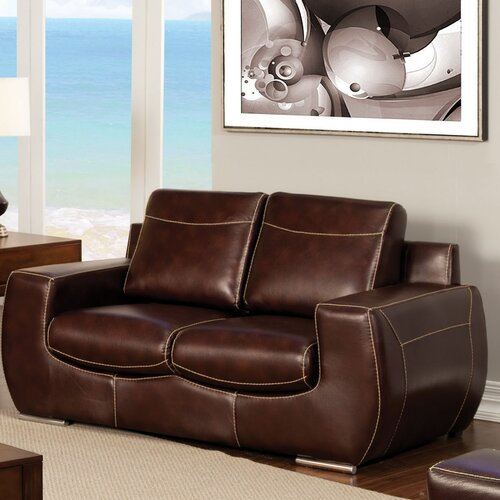 Elvira Leatherette Loveseat