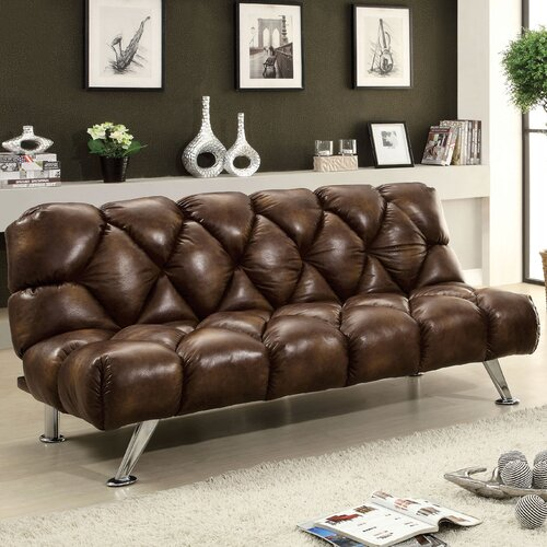 Hokku Designs Jenello Vinyl Convertible Convertible Sofa