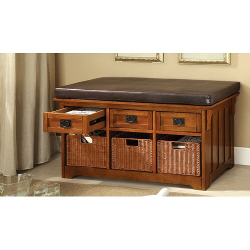 Enitial Lab Leatherette Storage Entryway Bench