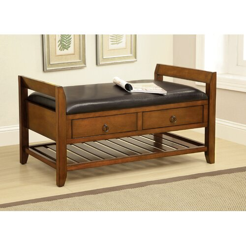 Wooden Leatherette Storage Entryway Bench