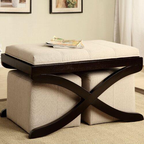 Hokku Designs Elegant Upholstered Bench with Ottomans
