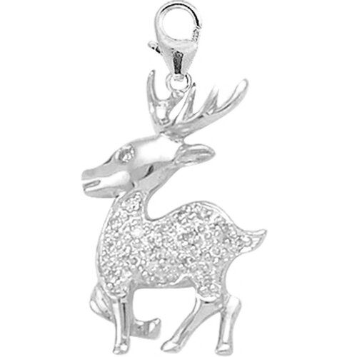 EZ Charms 14K 1.4 Grams White Gold Diamond Reindeer Charm