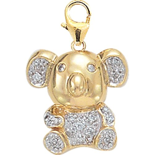 EZ Charms 14K Yellow Gold Diamond Koala Charm