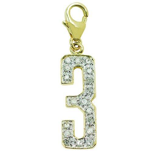 "EZ Charms 14K Yellow Gold Diamond ""3"" Charm"