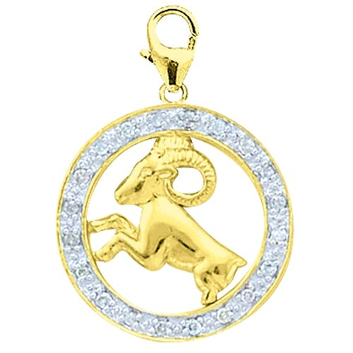 EZ Charms 14K Yellow Gold Diamond Zodiac - Aries Charm