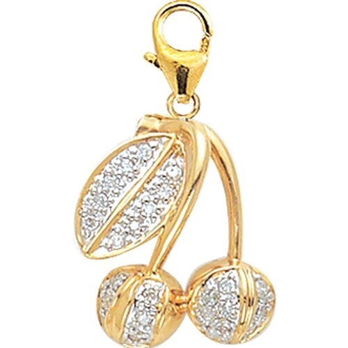 EZ Charms 14K Yellow Gold Diamond Cherries Charm