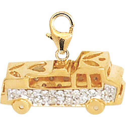 EZ Charms 14K Yellow Gold Diamond Fire Truck Charm