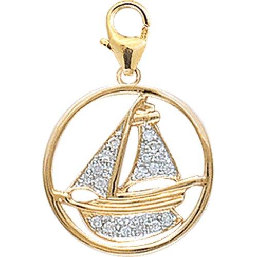 EZ Charms 14K Yellow Gold Diamond Boat Charm