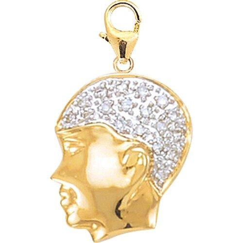 EZ Charms 14K Yellow Gold Diamond Boys' Head Charm