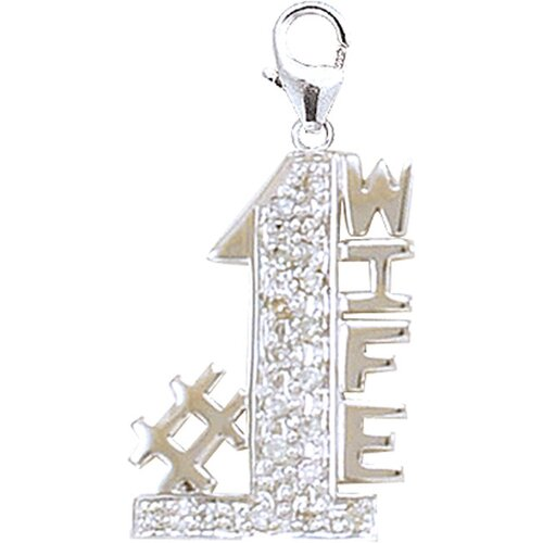 EZ Charms 14K White Gold Diamond #1 Wife Charm