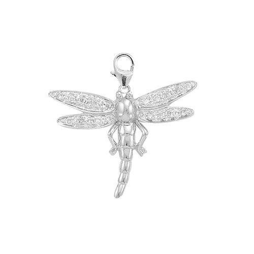 14K White Gold Diamond Dragonfly Charm