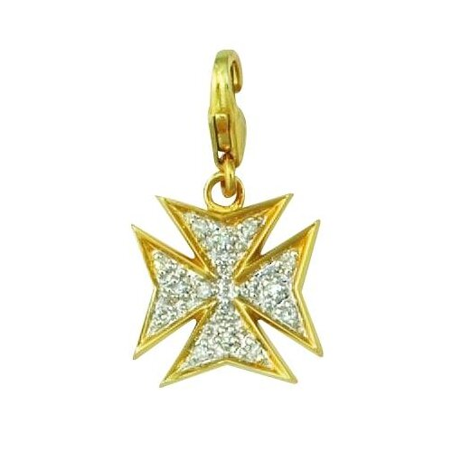 EZ Charms 14K 1.25 Grams Yellow Gold Diamond 0.08Ct Maltese Cross Charm