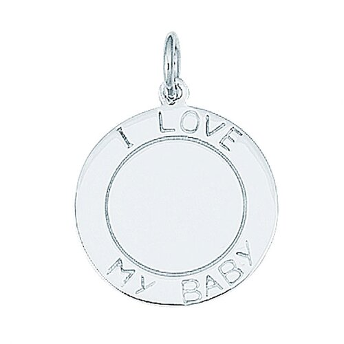 """EZ Charms Sterling Silver """"I Love My Baby"""" Round Disc Charm"""