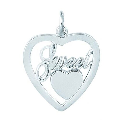 "EZ Charms Sterling Silver ""Sweet"" Heart in Heart Charm"