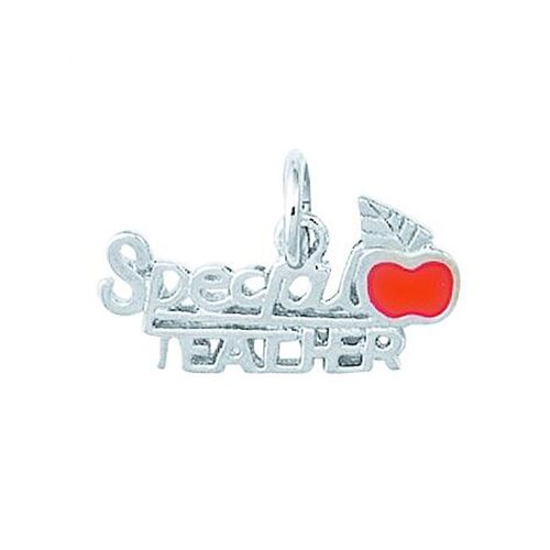 EZ Charms Sterling Silver Enamel Special Teacher with Apple Charm