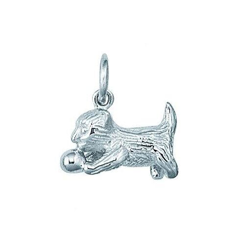 EZ Charms Sterling Silver Kitten with Ball Charm
