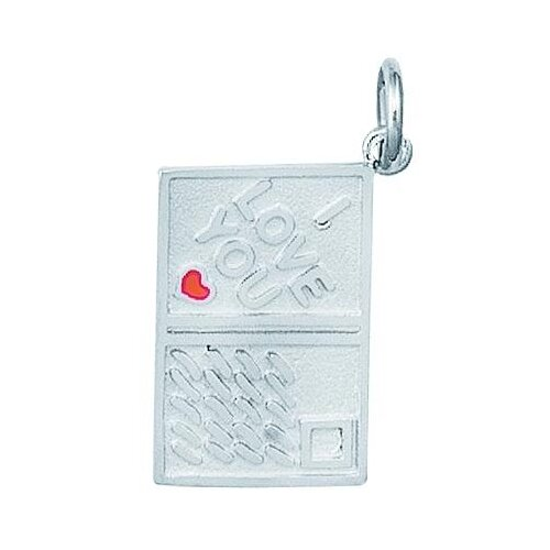 EZ Charms Sterling Silver Enamel I Love You Post Card Charm