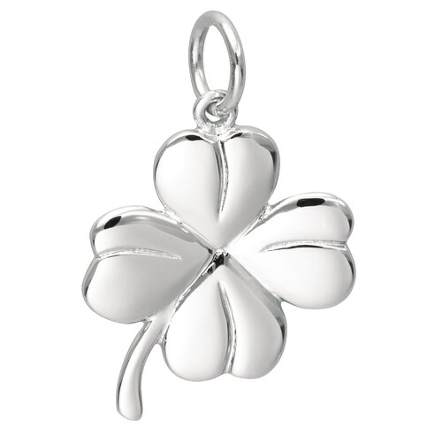EZ Charms Sterling Silver 4 Leaf Clover Charm
