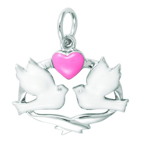 Sterling Silver Enamel Dove Band Heart Charm