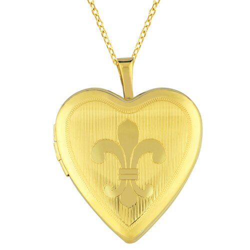 EZ Charms Heart Shaped Locket with Fleur De Lis in Gold