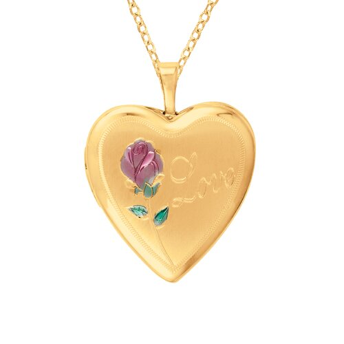 EZ Charms Heart Shaped 'Love' Locket with Cross and Flower in Gold