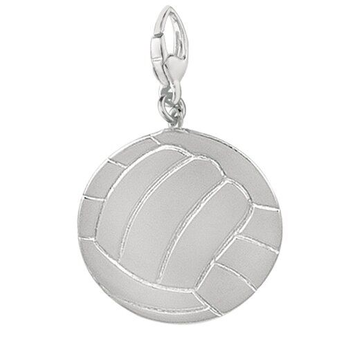 EZ Charms Sterling Silver Volly Ball Flat Back Charm