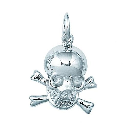 EZ Charms Sterling Silver Skull Cross and Bones Charm